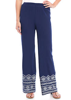 New Directions Embroidered Hem Palazzo Pants