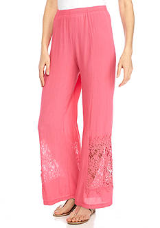 New Directions Solid Pull-On Crepon Palazzo Pant