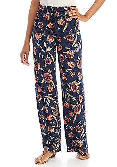 New Directions Floral Printed Pull-On Pants