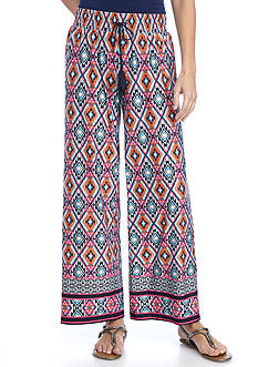 New Directions Petite Border Print Tie Front Wide Leg Pant