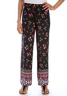New Directions Petite Floral Border Print Wide Leg Pant