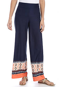 New Directions Petite Border Print Pull-On Pant