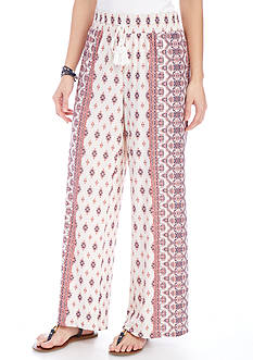 New Directions Petite Printed Tie Waist Wide Leg Pants