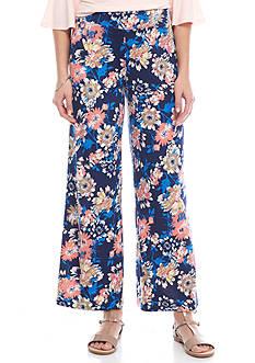 New Directions Petite Floral Print Wide Leg Soft Pants