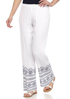 New Directions Petite Border Printed Pull-On Pant