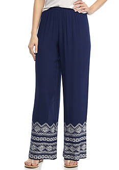 New Directions Petite Size Border Printed Pull-On Pant
