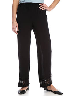 New Directions Petite Solid Pull-On Wide Leg Pants