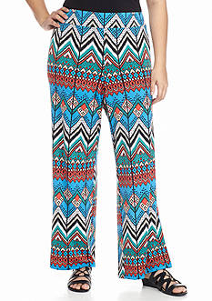 New Directions® Plus Size Chevron Printed Palazzo Pant