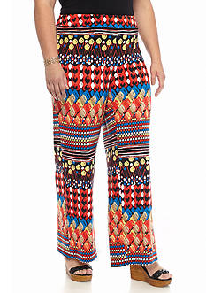 New Directions® Plus Size Horizontal Print Palazzo Pant