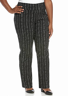 New Directions Plus Size Stripe Pull-on Millennium Ankle Pant