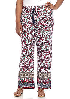 New Directions® Plus Size Floral Border Printed Pull-On Wide Leg Pant