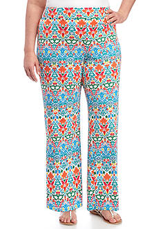 New Directions Plus Size Printed Floral Wide Leg Soft Pant