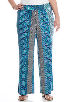 New Directions Plus Size Printed Pull-On Wide Leg Pant