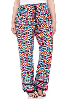 New Directions Plus Size Border Print Wide Leg Pant