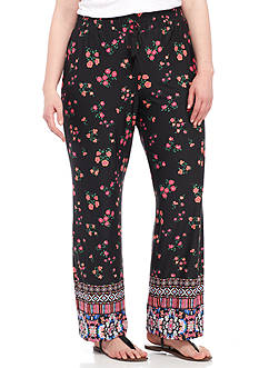 New Directions Plus Size Floral Border Print Wide Leg Pant