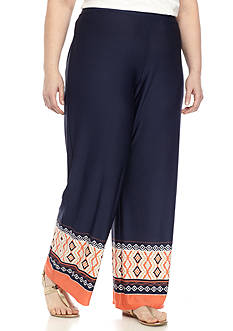 New Directions Plus Size Border Print DTY Wide Leg Pant
