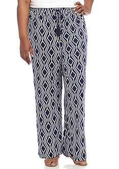 New Directions® Plus Size Geo Printed Pull-On Wide Leg Pant