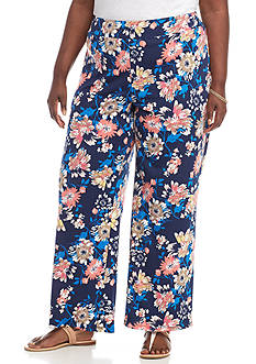 New Directions Plus Size Floral Printed DTY Soft Pant