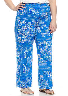 New Directions® Plus Size Printed DTY Wide Leg Soft Pants