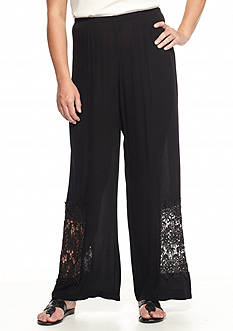 New Directions® Plus Size Crochet Inset Crinkle Palazzo Pants