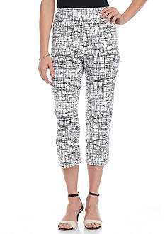 New Directions Sketch Lines Print Millennium Pull On Crop Pant