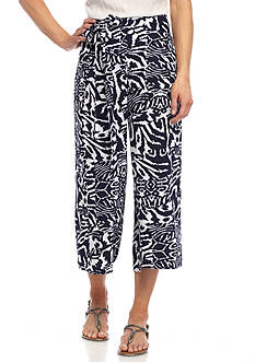 New Directions Printed Self Tie Pull-On Cropped Pant