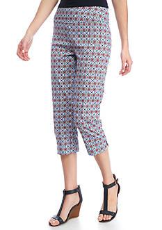 New Directions Printed Millennium Pull-On Slim Leg Capri Pants