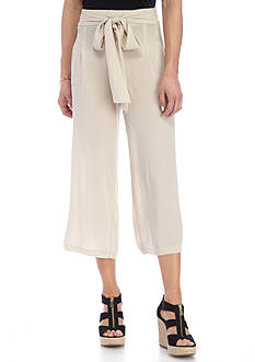 New Directions Solid Wide Leg Crop With Self Belt