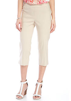 New Directions Petite Solid Pull-On Slim Leg Crop Capris