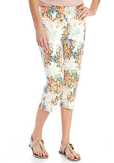 New Directions Petite Size Floral Print Millennium Pull-On Capris