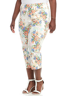 New Directions Plus Size Flower Print Pull-On Crop Pant