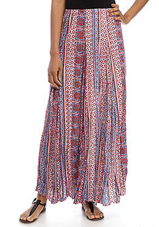 New Directions® Medallion Printed Lined Crinkle Tricot Skirt