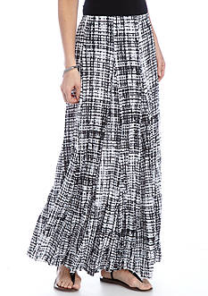 New Directions Printed Lined Crinkle Tricot Skirt