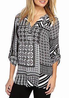 New Directions Patchwork Roll-Tab Blouse