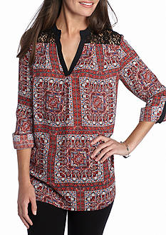 New Directions Lace Yoke Printed Blouse