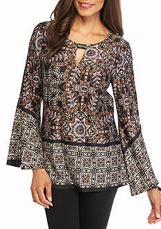 New Directions® Border Print Keyhole Knit Top
