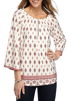 New Directions Medallion Printed Peasant Top