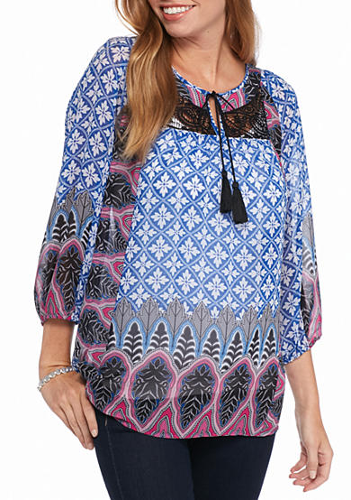 New Directions® Twin Print Tassel Tie Peasant Blouse