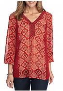 New Directions® Medallion Twin Print Blouse
