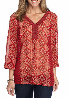 New Directions Medallion Twin Print Blouse