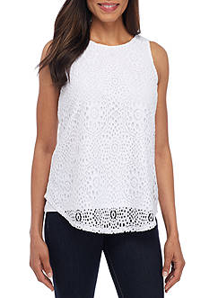 New Directions Fully Lined Sleeveless Lace Shirttail Blouse