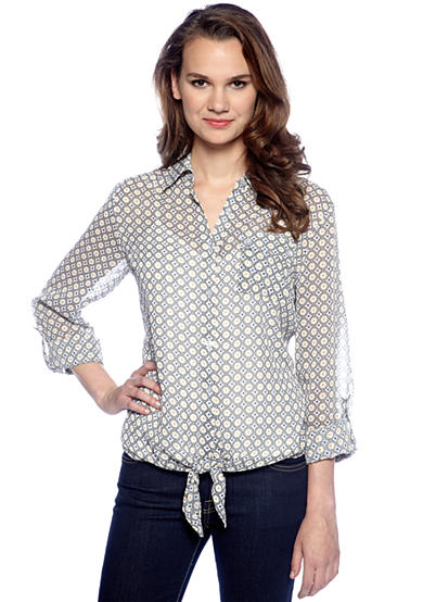 New Directions® Tie Front Woven Blouse with Cami
