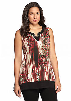 New Directions® Spotted Chiffon Shark-bite Hem Top