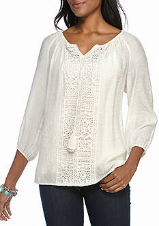 New Directions Lace Front Panel Blouse