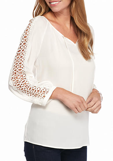 New Directions® Solid Crochet Peasant Top