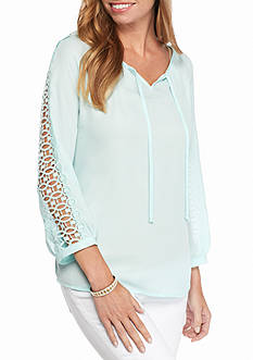 New Directions Solid Crochet Peasant Top