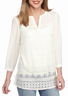 New Directions Lace Front Popover Blouse