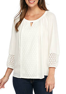 New Directions Lace Front Blouse