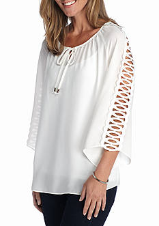 New Directions Open Lattice Sleeve Blouse