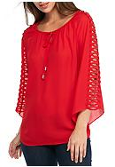 New Directions® Open Lattice Sleeve Blouse